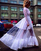 Эксклюзивное гипюровое длинное платье в пол с пышной юбкой