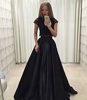 Эксклюзивное длинное в пол платье -костюм с верхом из французского кружева с пышной юбкой