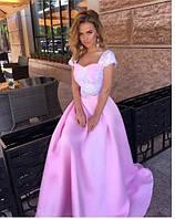 Эксклюзивное длинное платье-костюм в пол с пышной юбкой и кружевным верхом