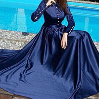 Длинное платье в пол с пышной юбкой и планочкой на груди