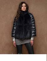 Комбинированная куртка с мехом и воротником-стойка