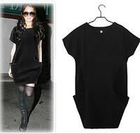 Платье-туника трикотажное с карманми черного цвета