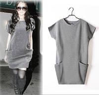 Платье-туника трикотажное с карманми серого цвета