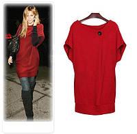 Платье-туника трикотажное с карманми и пуговицей красного цвета