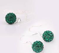 Комплект Шамбала/серьги, подвеска,цепочка/бижутерия, покрытие серебром/цвет темно-зеленый