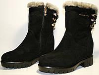 Полусапожки женские Foletti FL616 зимние, толстая подошва, на низком ходу, черные, замша, молния/шнурки сзади.