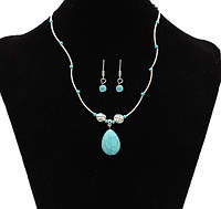 Набор Античность капля/ серьги и ожерелье/ бижутерия/ цвет серебро, бирюза