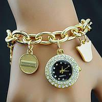 Женские наручные часы на цепочке с подвесками. Стильные часы-браслет. Отличное качество. Купить. Код: КДН755