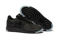 Кроссовки мужские Nike Air Force 1 LOW FLYKNIT - BLACK (найк форс, оригинал) черные