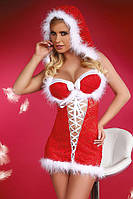 Новогоднее сексуальное платье с капюшоном