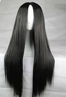Парик длинный волос черный пробор качество