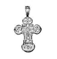 Серебряный нательный православный Крестик с распятием и иконами и молитвой