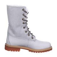 Зимние женские ботинки Timberland Teddy Fleece, Тимберленд с мехом серые