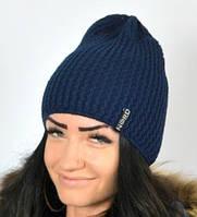 Однотонная женская шапка