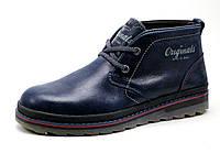Ботинки зимние Clarks, мужские, на меху, натуральная кожа, синие, р. 40 41 42 43 44 45, фото 1