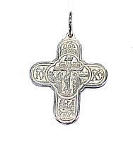 Серебряный Крест Иисус Христос Царь Славы с распятием и молитвой
