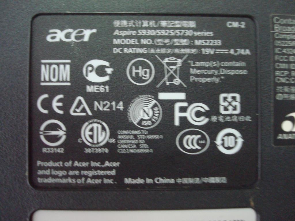 Нижняя часть корпуса ноутбука Acer aspire 5930