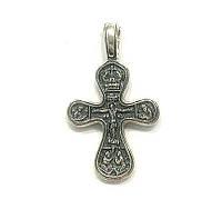 Нательный серебряный крест с распятием иконами и чернением