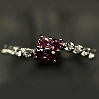 Серебряное кольцо с природным родолит гранатом