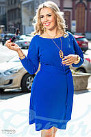 Повседневное батальное платье. Цвет синий электрик. Большие размеры.