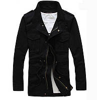 Теплая мужская куртка на флисе. Код-  8414- черная.