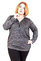 Свитер большого размера замочек (2 цв), свитер женский для полных, легкий женский свитер, дропшиппинг украина