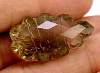 43кт Природный  дымчатый кварц - ручная резьба