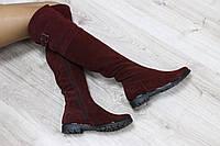 Зимние натуральные замшевые сапоги-ботфорты бордовые