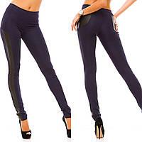 Женские модные леггинсы с кожаными вставками 071 / темно-синие
