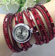 Часы Камушки/кварцевые/цвет красный
