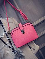 Кожаная женская сумочка клатч на плече. Крокодилья кожа. Элегантная, стильная, маленькая сумочка. Код: КБН70