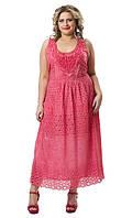 Платье женское с кружевом розовое