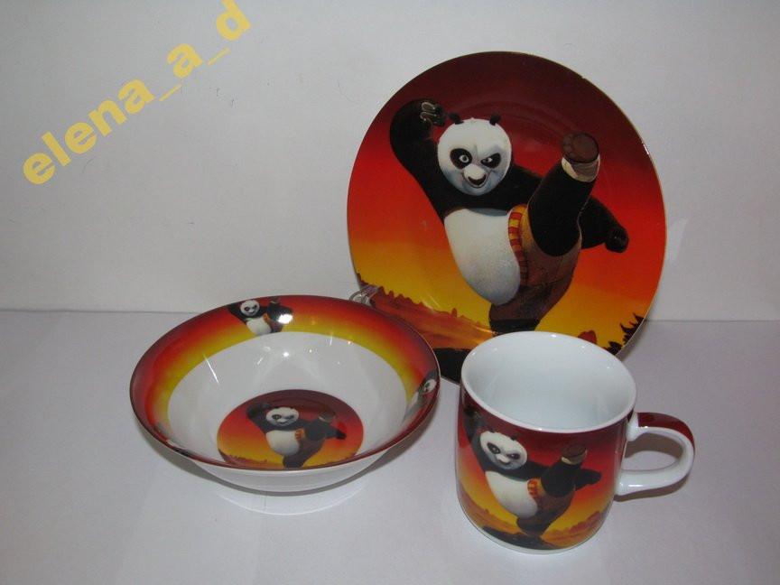 Акция! C407 Набор детской посуды Панда Кунг-фу