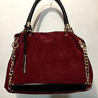 Бордовая замшевая женская сумка