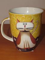 Чашка из фарфора Кот с рыбой в упаковке