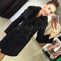 Женское кашемировое зимнее пальто с меховой опушкой разные цвета