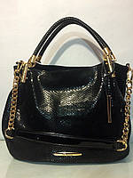 Женская черная сумка кожа питона