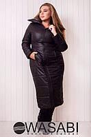 Пальто ниже колен. черного цвета на молнии