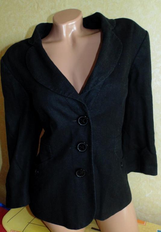 Фирменный пиджак 46-48р,лен
