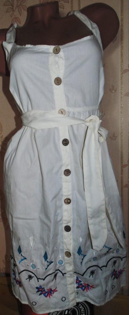 Молочный сарафан-туника с вышивкой 48-50р