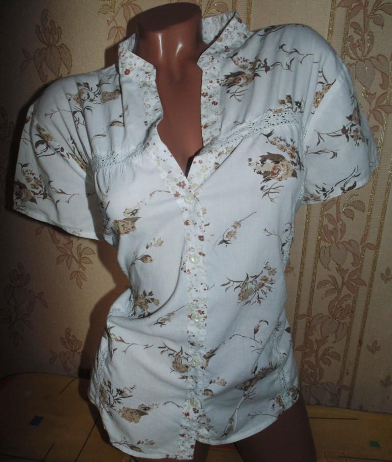 Хлопковая блуза в цветочек блуза 52-54р