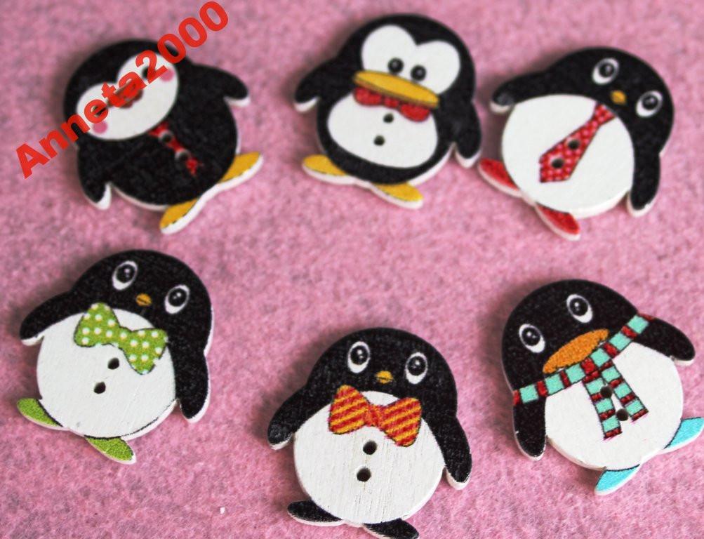 """Пуговицы деревянные """"Пингвины"""" - 5 шт."""