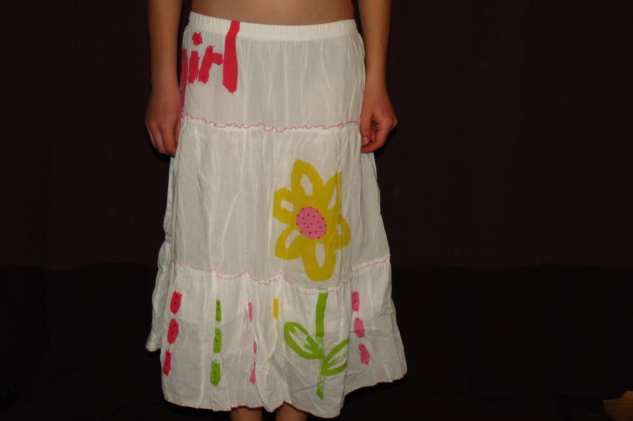 Юбка легкая летняя с подъюбником девочке 11-12лет