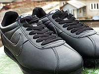 Кроссовки мужские стильные черные Nike Cortez Full Black Leather (реплика)