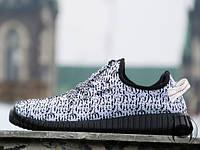 Кроссовки мужские для бега Adidas Yeezy Boost 350 white-black (реплика)