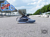 Кроссовки мужские беговые летние Nike Flyknit Racer grey (найк)