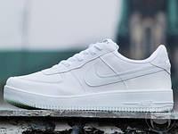 Кроссовки мужские низкие белые Nike Air Force 1 Full White Leather (реплика)