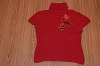 Червона тепла кофта з квіткою з паєток