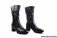 Сапоги женские кожаные Polann (ботинки стильные, натуральный мех, антискользящая подошва)