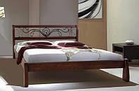 Деревянная кровать Ретро  с ковкой